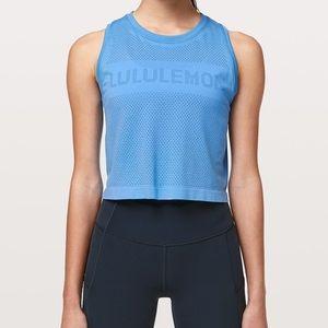 Lululemon breeze by muscle crop blue brisk blue